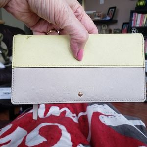 Kate Spade Yellow/Tan Leather wallet with damage